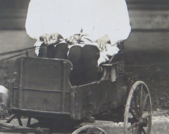 Vintage 1910's Twins Sit In Their Goat Cart Real Photo Postcard - Free Shipping