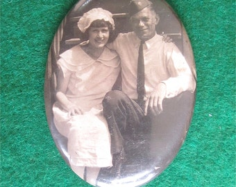 Cute 1940's Celluloid Photo Remembrance Pocket Mirror - He Was Her Soldier Boy - Free Shipping