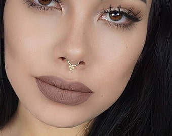 Solid Gold Septum Jewelry, Gold Septum Ring, Gold Septum Ring 16g, Gold Septum Ring 14g, Gold Septum 16g, Hippie Piercing, India Nose Ring