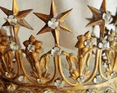 Antique French Tiara Crown Napoleon III Fleur de Lis Lilies Ormolu & Clear Rhinestones Circa 1850 Saint or Virgin Crown