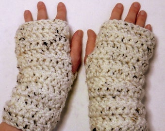 Fingerless Gloves Oatmeal Fingerless Gloves Crocheted Fingerless Gloves Chunky Yarn Fingerless Gloves
