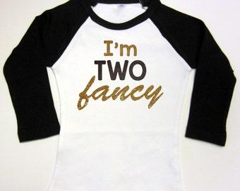 2nd Birthday Shirt Second Birthday I'm TWO fancy Outfit Raglan Glitter Shirt TWO Birthday Second Third Birthday Shirt Gift Idea Arrow 1st