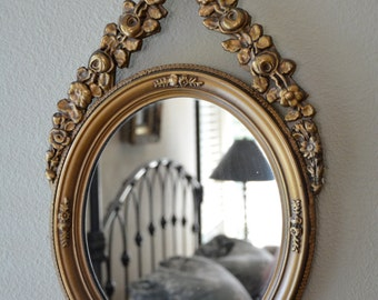 French Mirror, Oval Mirror, Gilded Mirror, Floral Mirror, Carved Wood Mirror, Gesso Mirror