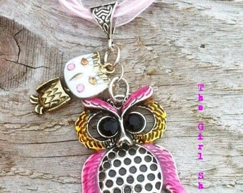Owl Necklace-Pink and White