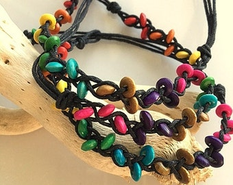 Wood Bead Woven and Knotted Friendship Bracelets or Anklets
