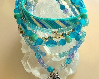 Multi Strand Turquoise Blue Apatite, Aventurine, Gemstones, Crystals and Beads - Charm Friendship Bracelet - Statement Bracelet