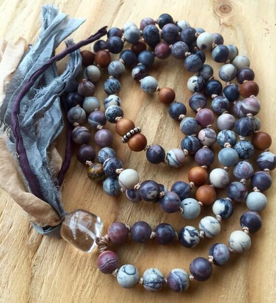 Bohemian Mala Beads - Porcelain Jasper & Sandalwood Mala Necklace - Hand Knotted Mala - Crown Chakra Mala - Chakra Balance - Yoga Jewelry