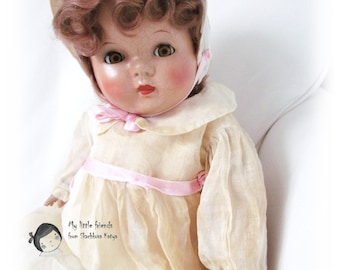 Vintage 1930-40's Mama Doll, flirting eyes Doll, composite Doll