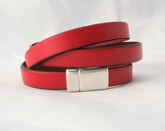 RED & BLACK Flat Leather Wrap Bracelet ~ Magnetic Clasp ~ Genuine 10 mm Flat Leather - Silver Magnetic Clasp - custom sizing