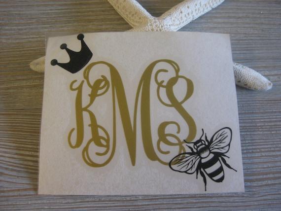Queen Bee Monogram Car Decal Monogram Queen Bee Car Decal