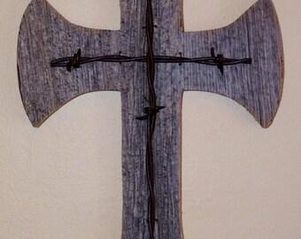 Reclaimed Barn Wood Cross | Barbed Wire Cross | Salvaged Barn Wood Cross | Rustic Cross | Salvaged Lumber