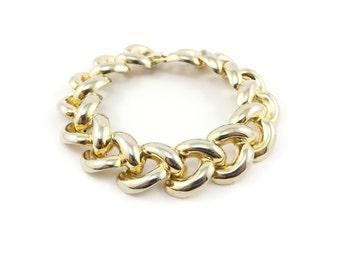 Vintage Chain Link Bracelet, Gold Tone, Curb Chain