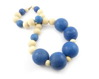 Vintage Wood Bead Necklace, Blue, Beige, Baubble, Large Beads