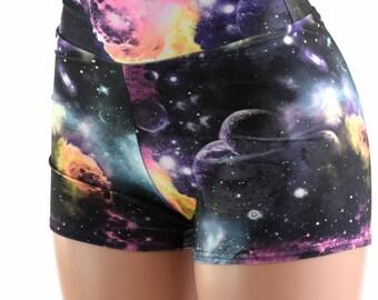 High Waist Galaxy Print UV Glow Spandex Booty Shorts Rave Festival Clubwear  152357