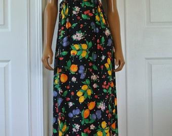 1990s Midi Dress Fruit Novelty Grunge Dress by XOXO Size M