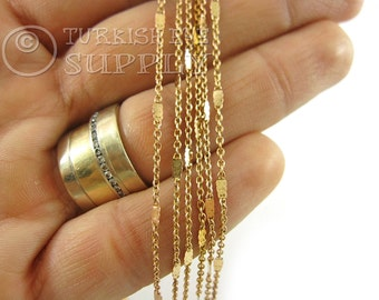 Raw Brass Chain, 1mm Delicate Flat Cable Chain, 5 Meters Satellite Chains, Soldered Chains, Raw Brass Findings no1