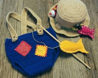 Baby Halloween costume - baby fisherman outfit - baby boy halloween costume - crochet fishing outfit - crochet Halloween costume