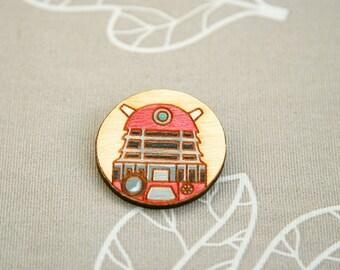 Wooden brooch Doctor Who Dalek badge