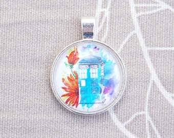 Police box pendant tardis doctor who blue flower