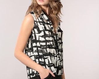 Black and white tie blouse, women's summer shirt, sleeveless shirt, summer blouse
