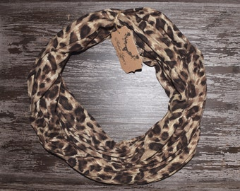 Jersey Cotton Cheetah Infinity Scarf