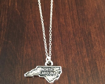 North Carolina Necklace, North Carolina, silver North Carolina necklace, North Carolina jewelry, North Carolina pendant, state necklace