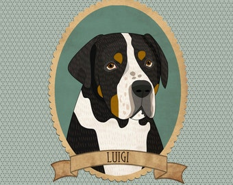 Personalized dog portrait with name. Dog memorial. Gift for pet lover, pet memorial, pet loss gift.