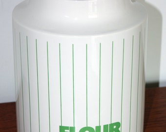 1970s Hornsea Green Stripe Flour Storage Jar