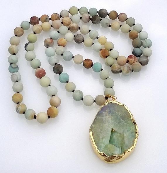 Amazonite Beaded Necklace, Druzy Pendant Necklace, Hand Knotted Necklace, Druzy Stone Necklace