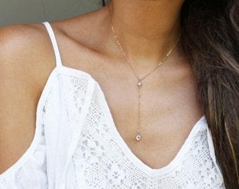 Round CZ Diamond Lariat Necklace // Y Lariat Necklace