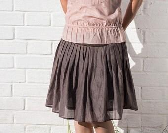 Pink silk cotton batiste sleeveless blouse