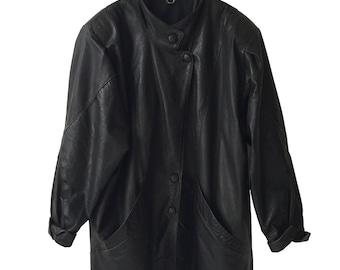 Black 80s Vintage Long Leather Patchwork Oversized Blazer Jacket