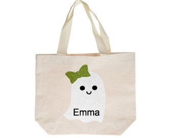 Personalized Halloween Trick-or-Treat Bag, Trick or Treat Bag for Girls, Halloween Bag, Glitter Halloween Tote, Personalized Ghost Bag