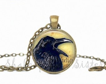 Crow Necklace - Raven Necklace - Gothic Jewelry - Black Crow - Gothic Necklace - Pendant Necklace