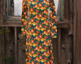 Vintage Bright Floral Mid Century A Line Midi Day Dress