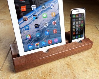 Locking Charger - Dual iPad & iPhone Docking Station - Black Walnut