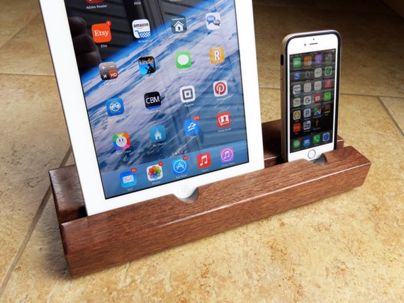 Locking Charger - Dual iPad & iPhone Docking Station - Black Walnut