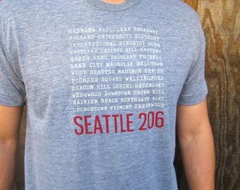 Seattle mens neighborhood T-shirt.American apparel WA shirt.
