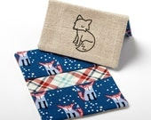 Fox Wallet, Business Card Holder, Small Purse Accessories - Navy Fox - Woodland Wallet for Women