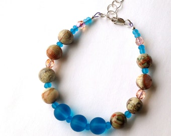 Beaded Beach Bracelet, with Picture Jasper and Blue Glass Beads, Birthday Gift, Gift for Her, Beach Jewelry