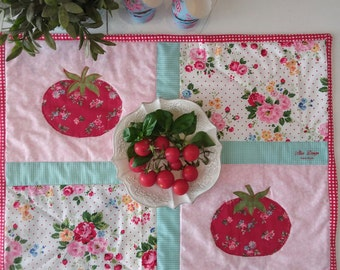 "Mini Quilt, handmade, ""My vegetable garden"", cloth vegetable"