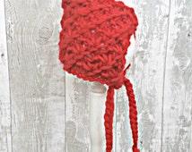 Red Knitted Pixie Hat, Knit Baby Bonnet, Baby Girl Bonnet, Red Riding Hood Bonnet, Newborn Knit Bonnet, Hand Knit Baby Hat, New Baby Gift