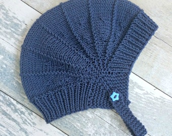 Baby Aviator Hat, Hipster Baby Knit Hat, Unisex Baby Gifts, Gender Neutral Baby Knits, Earflap Hat, Baby Knitwear, Hand Knitted Baby Clothes
