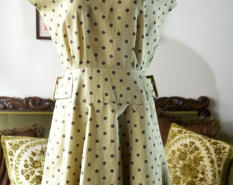 REDUCED 1940s style olive green polka dot dress with buckle detail