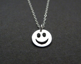 Smile necklace, happy face charm, fun birthday gift for girls, sterling silver 925