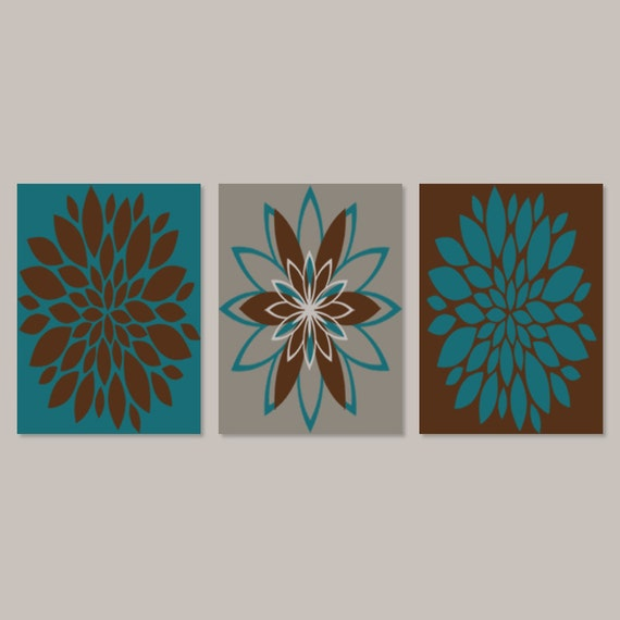 Teal And Brown Wall Art bedroom wall art prints or canvas teal brown dahlia flower