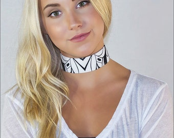 Emperor Angelfish Choker: Inspired by underwater creatures created for the bold- Handmade- Authentic design by Alicia/Ellafly