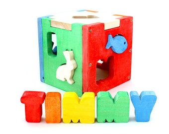 Shape Sorter / Wood Toy For Toddler / Baby Boy Toy / Boy Toddler Toy / Kids Toy / Toys for Boys / Personalized Baby Gift