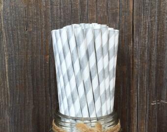 Silver Paper Straws, 100 Stripe Straws, Birthday Party,  Baby Shower, Wedding Supply,  Free Shipping