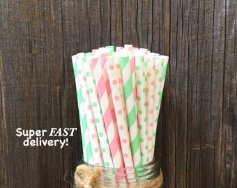 100 Light Pink and Mint Striped and Polka Dot Paper Drinking Straws - Baby Shower, Birthday Party Supply, Free Shipping!